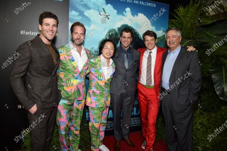 Austin Stowell, Ryan Hansen, Jimmy O. Yang, Jeff Wadlow, Director/Writer/Producer, Jason Blum, CEO of Blumhouse Productions, and Tony Vinciquerra, Chairman and Chief Executive Officer, Sony Pictures Entertainment, at the Los Angeles premiere of Columbia Pictures' BLUMHOUSE'S FANTASY ISLAND.
