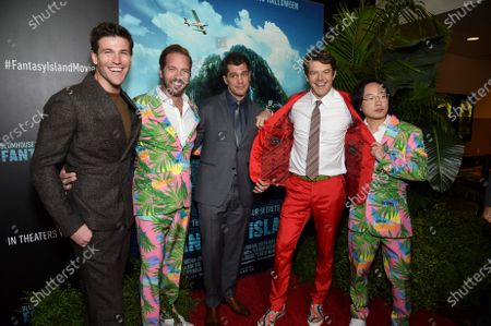 Austin Stowell, Ryan Hansen, Jeff Wadlow, Director/Writer/Producer, Jason Blum, CEO of Blumhouse Productions, and Jimmy O. Yang at the Los Angeles premiere of Columbia Pictures BLUMHOUSE'S FANTASY ISLAND