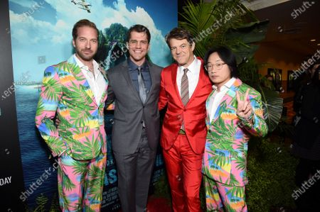 Ryan Hansen, Jeff Wadlow, Director/Writer/Producer, Jason Blum, CEO of Blumhouse Productions, and Jimmy O. Yang at the Los Angeles premiere of Columbia Pictures BLUMHOUSE'S FANTASY ISLAND