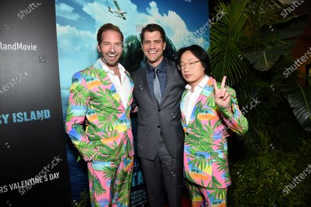 Ryan Hansen, Jeff Wadlow, Director/Writer/Producer, and Jimmy O. Yang at the Los Angeles premiere of Columbia Pictures BLUMHOUSE'S FANTASY ISLAND