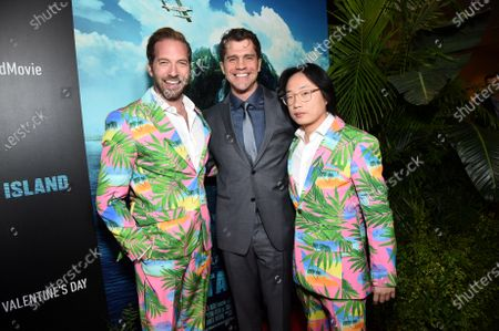Ryan Hansen, Jeff Wadlow, Director/Writer/Producer, and Jimmy O. Yang at the Los Angeles premiere of Columbia Pictures' BLUMHOUSE'S FANTASY ISLAND.