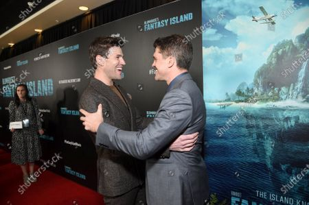 Austin Stowell and Jeff Wadlow, Director/Writer/Producer, at the Los Angeles premiere of Columbia Pictures BLUMHOUSE'S FANTASY ISLAND