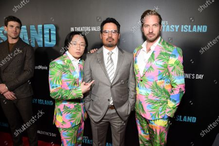 Jimmy O. Yang, Michael Pe-a and Ryan Hansen at the Los Angeles premiere of Columbia Pictures BLUMHOUSE'S FANTASY ISLAND