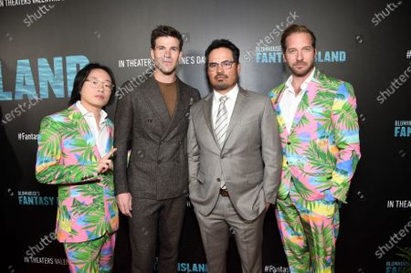 Jimmy O. Yang, Austin Stowell, Michael Pe-a and Ryan Hansen at the Los Angeles premiere of Columbia Pictures BLUMHOUSE'S FANTASY ISLAND