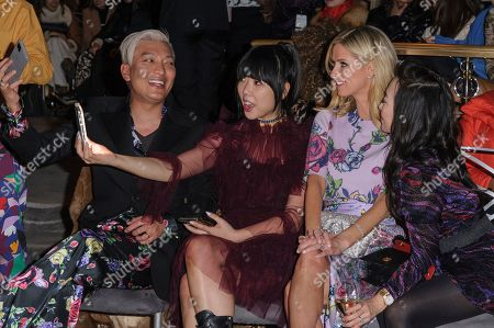 Brian Boy, from left, Susie Lau, Nicky Hilton Rothschild, and Tina Craig attend NYFW Fall/Winter 2020 - Prabal Gurung at The Rainbow Room, in New York