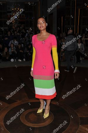 Stock Photo of Indya Moore attends NYFW Fall/Winter 2020 - Prabal Gurung at The Rainbow Room, in New York