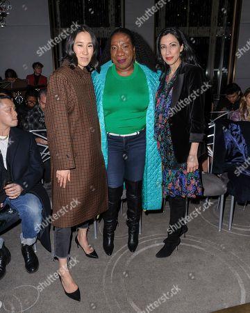 Eva Chen, from left, Tarana Burke and Huma Abedin attend NYFW Fall/Winter 2020 - Prabal Gurung at The Rainbow Room, in New York