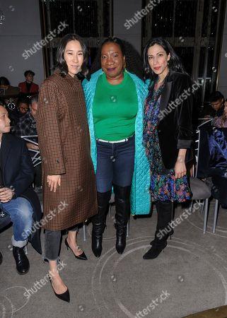 Eva Chen, from left, Tarana Burke, and Huma Abedin attend NYFW Fall/Winter 2020 - Prabal Gurung at The Rainbow Room, in New York