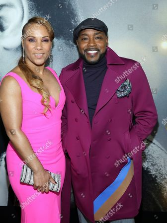"""Stock Image of Heather Hayslett, Will Packer. Producer Will Packer right, and Heather Hayslett attend the world premiere of """"The Photograph"""" at the SVA Theatre, in New York"""