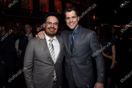 Michael Pena and Jeff Wadlow, Director/Writer/Producer, at the Los Angeles premiere of Columbia Pictures Blumhouse's FANTASY ISLAND.