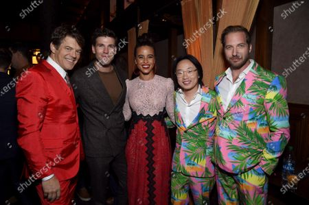 Jason Blum, CEO of Blumhouse Productions, Austin Stowell, Parisa Fitz-Henley, Jimmy O. Yang and Ryan Hansen at the Los Angeles premiere of Columbia Pictures' BLUMHOUSE'S FANTASY ISLAND.