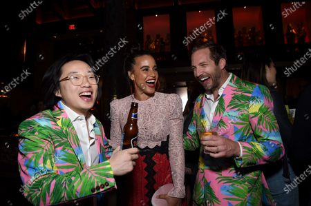 Jimmy O. Yang, Parisa Fitz-Henley and Ryan Hansen at the Los Angeles premiere of Columbia Pictures' BLUMHOUSE'S FANTASY ISLAND.