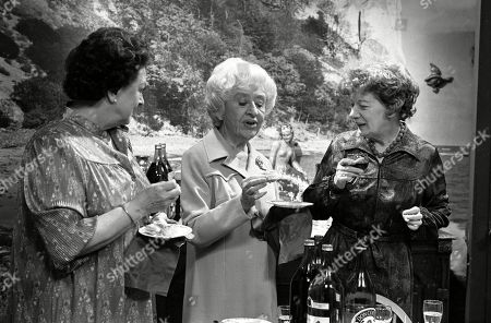 Ep 2319 Wednesday 22nd June 1983  Mrs Lowther gives Hilda some leftovers from a party so Hilda decides to throw an inheritance party. Hilda enjoys entertaining her guests, but the party goes slightly awry when her carpet man and bathroom salesman call during the party. With Hilda Ogden, as played by Jean Alexander ; Betty Turpin, as played by Betty Driver ; Annie Walker, as played by Doris Speed.