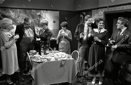 Ep 2319 Wednesday 22nd June 1983  Mrs Lowther gives Hilda some leftovers from a party so Hilda decides to throw an inheritance party. Hilda enjoys entertaining her guests, but the party goes slightly awry when her carpet man and bathroom salesman call during the party. With Hilda Ogden, as played by Jean Alexander ; Stan Ogden, as played by Bernard Youens ; Annie Walker, as played by Doris Speed ; Elsie Tanner, as played by Pat Phoenix ; Alf Roberts, as played by Bryan Mosley ; Ivy Tilsley, as played by Lynne Perrie.