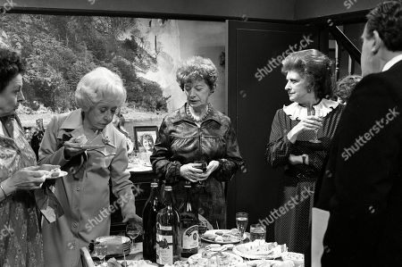 Ep 2319 Wednesday 22nd June 1983  Mrs Lowther gives Hilda some leftovers from a party so Hilda decides to throw an inheritance party. Hilda enjoys entertaining her guests, but the party goes slightly awry when her carpet man and bathroom salesman call during the party. With Hilda Ogden, as played by Jean Alexander ; Betty Turpin, as played by Betty Driver ; Annie Walker, as played by Doris Speed ; Elsie Tanner, as played by Pat Phoenix ; Alf Roberts, as played by Bryan Mosley.