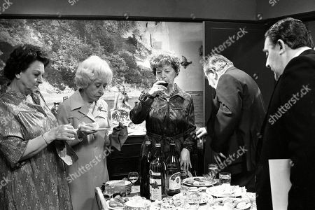 Ep 2319 Wednesday 22nd June 1983  Mrs Lowther gives Hilda some leftovers from a party so Hilda decides to throw an inheritance party. Hilda enjoys entertaining her guests, but the party goes slightly awry when her carpet man and bathroom salesman call during the party. With Hilda Ogden, as played by Jean Alexander ; Stan Ogden, as played by Bernard Youens ; Betty Turpin, as played by Betty Driver ; Annie Walker, as played by Doris Speed ; Alf Roberts, as played by Bryan Mosley.