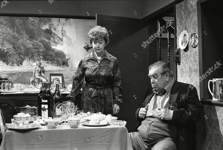 Ep 2318 Monday 20th June 1983 Hilda decides to spend her inheritance on carpets. Stan is indifferent. With Hilda Ogden, as played by Jean Alexander ; Stan Ogden, as played by Bernard Youens.