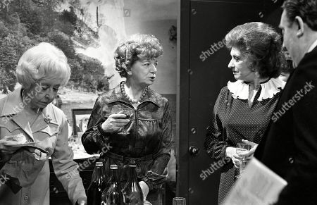 Ep 2319 Wednesday 22nd June 1983  Mrs Lowther gives Hilda some leftovers from a party so Hilda decides to throw an inheritance party. Hilda enjoys entertaining her guests, but the party goes slightly awry when her carpet man and bathroom salesman call during the party. With Hilda Ogden, as played by Jean Alexander ; Annie Walker, as played by Doris Speed ; Elsie Tanner, as played by Pat Phoenix ; Alf Roberts, as played by Bryan Mosley.