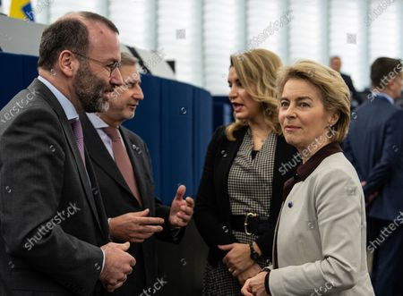 (L-R) Chairman of the EPP Group in the European Parliament Manfred Weber, stands together with EU Commissioner for Enlargement Negotiations Johannes Hahn,  Nikolina Brnjac, of Croatia, President in office of the Council of the Europe and President of the European Commission Ursula von der Leyen before the debate on the Preparation of the Extraordinary European Council Meeting on the Multiannual Financial Framework at the European Parliament in Strasbourg, France, 12 February 2020. The extraordinary meeting will take place on 20 February 2020.