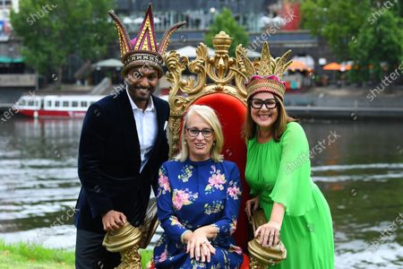 Moomba monarchs Nazeem Hussain (L) and Julia Morris (R) the pose for a photograph with Lord Major of Melbourne Sally Capp during a preview of the 66th annual Moomba Festival in Melbourne, Victoria, Australia, 12 February 2020. The event will run from 06 to 09 March 2020.