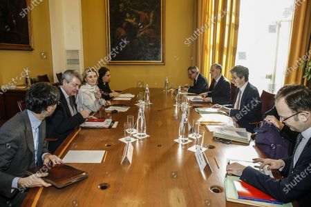 Stock Picture of The secretary general of Italy's foreign affairs ministry, Elisabetta Belloni (3-L), meets with her French counterpart Francois Delattre (3-R) during a bilateral meeting in Rome, Italy, 12 February 2020.
