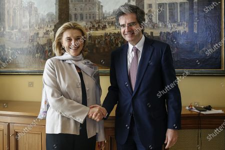 The secretary general of Italy's foreign affairs ministry, Elisabetta Belloni (L), meets with her French counterpart Francois Delattre (R) during a bilateral meeting in Rome, Italy, 12 February 2020.