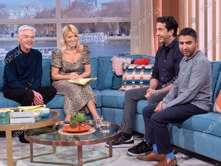 Phillip Schofield and Holly Willoughby with David Schwimmer and Nick Mohammed