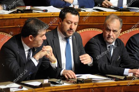 Senator and leader of Lega party Matteo Salvini (C) senator Roberto Calderoli