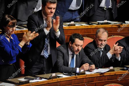 Senator and leader of Lega party Matteo Salvini (C) senator Roberto Calderoli