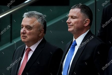 Speaker of the Israeli Knesset Yuli Edelstein (R) and Israel Ambassador to Germany Jeremy Issacharoff (L) attend a session of the German parliament 'Bundestag' in Berlin, Germany, 12 February 2020. Members of Bundestag debated on the Coronavirus development among others.