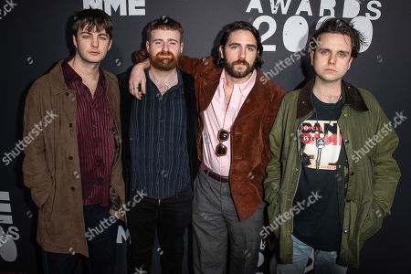 Stock Picture of Grian Chatten, Tom Coll, Carlos O'Connell and Conor Deegan III of Fontaines D.C.