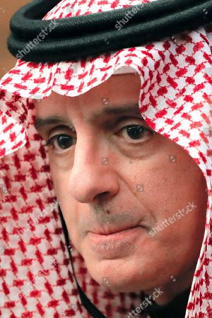 Stock Picture of Saudi Minister of State for Foreign Affairs Adel al-Jubeir attends joint press statements with Romanian Foreign Minister Bogdan Aurescu in Bucharest, Romania
