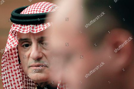 Saudi Minister of State for Foreign Affairs Adel al-Jubeir attends joint press statements with Romanian Foreign Minister Bogdan Aurescu in Bucharest, Romania