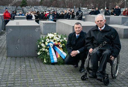 Speaker of the Israeli Knesset Yuli-Yoel Edelstein (front, L) and President of the German Parliament Bundestag Wolfgang Schauble (front, R) pose during a wreath laying ceremony at the Memorial to the Murdered Jews of Europea in Berlin, Germany, 12 February 2020. Edelstein arrived in the German capital on 10 February and met with several German leaders.