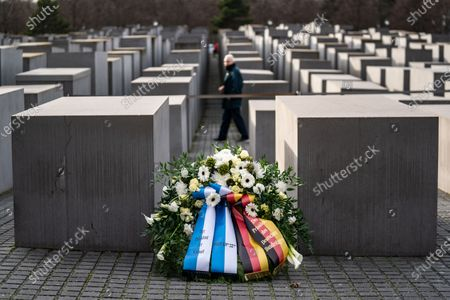 A wreath is laying on the ground prior to a wreath laying ceremony at the Memorial to the Murdered Jews of Europea in Berlin, Germany, 12 February 2020. Speaker of the Israeli Knesset Yuli-Yoel Edelstein arrived in the German capital on 10 February and met with several German leaders.