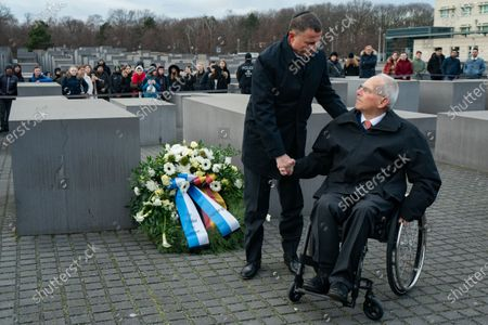 Speaker of the Israeli Knesset Yuli-Yoel Edelstein (front, L) and President of the German Parliament Bundestag Wolfgang Schauble (front, R) shake hands during a wreath laying ceremony at the Memorial to the Murdered Jews of Europea in Berlin, Germany, 12 February 2020. Edelstein arrived in the German capital on 10 February and met with several German leaders.