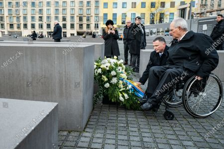 Speaker of the Israeli Knesset Yuli-Yoel Edelstein (front, L) and President of the German Parliament Bundestag Wolfgang Schauble (front, R) attend a wreath laying ceremony at the Memorial to the Murdered Jews of Europea in Berlin, Germany, 12 February 2020. Edelstein arrived in the German capital on 10 February and met with several German leaders.