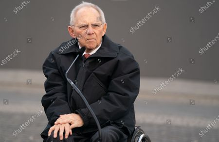 President of the German Parliament Bundestag Wolfgang Schauble attends a wreath laying ceremony at the Memorial to the Murdered Jews of Europea in Berlin, Germany, 12 February 2020. Speaker of the Israeli Knesset Yuli-Yoel Edelstein arrived in the German capital on 10 February and met with several German leaders.