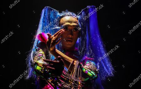 Stock Image of A model presents a creation by Indian designer Manish Arora during the Lakme Fashion Week (LFW) Summer/Resort 2020 in Mumbai, India, 12 February 2020.