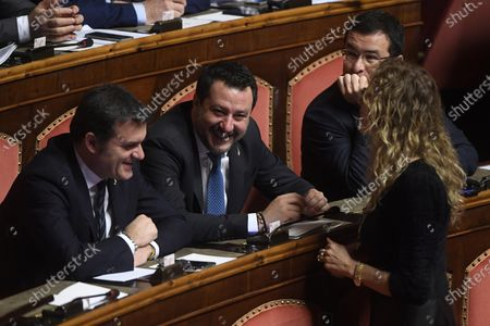 Gian Marco Centinaio, Matteo Salvini and Erika Stefani during the voting on the Gregoretti case and the request for authorization to proceed