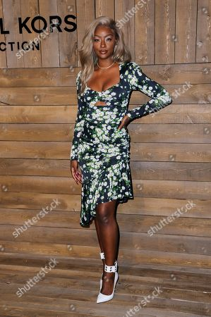 Justine Skye attends NYFW Fall/Winter 2020 - Michael Kors at The American Stock Exchange, in New York