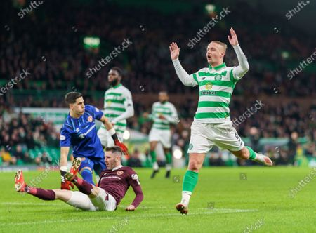 Leigh Griffiths of Celtic reacts after missing a scoring chance
