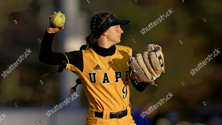 Arkansas-Pine Bluff's Natalie P. Rogers (9) throws the ball during an University of Arkansas at Pine Bluff against McNeese State University NCAA softball game, in Lake Charles, La