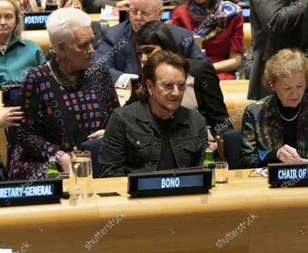 Stock Picture of Bono and Mary Robinson attends High-Level Event A Call to Action for the Education of Adolescent Girls