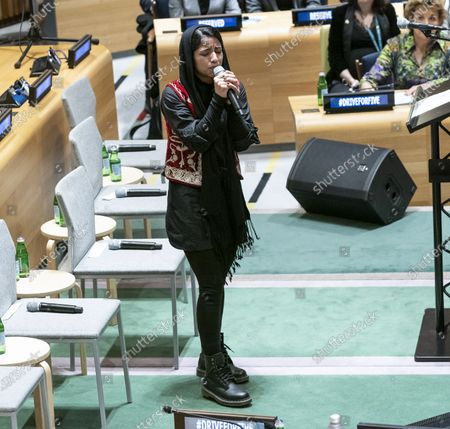 Sonita Alizadeh sings at High-Level Event A Call to Action for the Education of Adolescent Girls