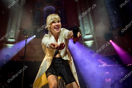 Stock Image of Carly Rae Jepsen performs during a concert at the Paradiso in Amsterdam, The Netherlands, 12 February 2020. It was the first club show ever in the Netherlands for the Canadian singer, who is best known for her hit 'Call Me Maybe'.
