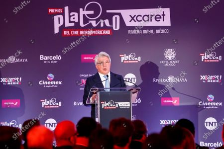 The president of the Entity of Management of Rights of Audiovisual Producers (EGEDA), Enrique Cerezo, participates in a press conference for the presentation of the 2020 Platinum Awards, in Mexico City, Mexico, 12 February 2020.