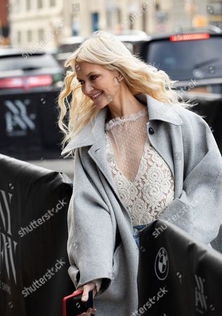 Stock Image of Zanna Roberts Rassi, a fashion, beauty and entertainment journalist, arrives for a show during Fashion Week, in New York