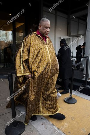 Fashion journalist Andre Leon Talley leaves after attending a show during Fashion Week, in New York
