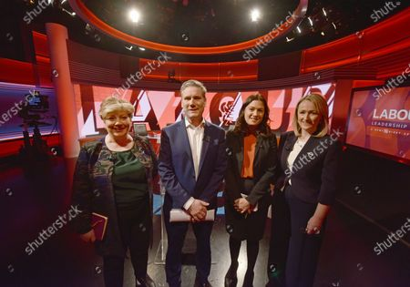 A handout photo made available by the BBC shows Labour leadership contestants (from L-R) Emily Thornberry, Kier Starmer, Lisa Nandy and Rebecca Long Bailey pose at the BBC studios in London, Britain, 12 February 2020.  EPA-EFE/JEFF OVERS / BBC HANDOUT For Editorial use only - usual BBC terms and conditions apply  Photo credit should read: Jeff Overs/BBC  NOTE TO EDITORS: Not for use more than 21 days after issue. You may use this picture without charge only for the purpose of publicising or reporting on current BBC programming, personnel or other BBC output or activity within 21 days of issue. Any use after that time MUST be cleared through BBC Picture Publicity. Please credit the image to the BBC and any named photographer or independent programme maker, as described in the caption. HANDOUT EDITORIAL USE ONLY/NO SALES